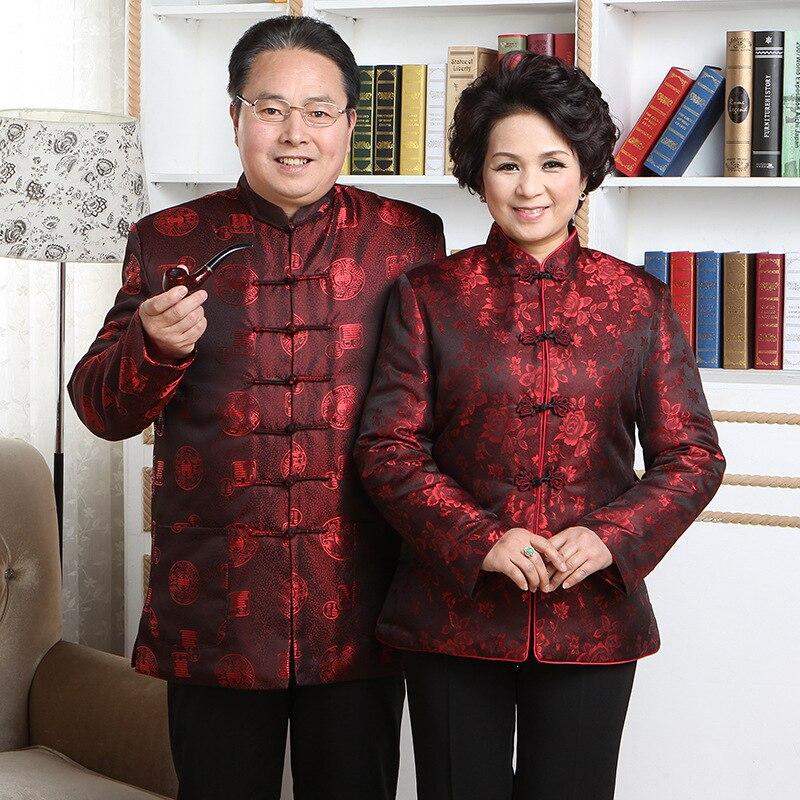 Традиционная китайская Новогодняя хлопковая одежда для пар костюм Тан винтажный Ципао ханьфу Женская Туника Топы для мужчин