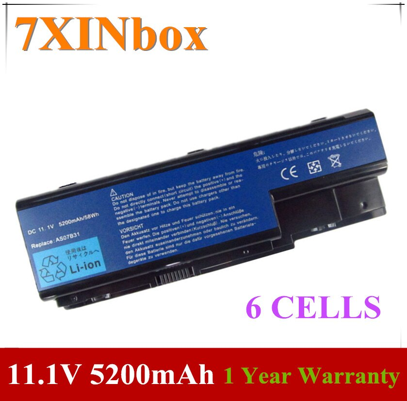 7XINbox 11,1 V 5200mAh batería para Acer Aspire AS07B31 AS07B32 AS07B41 AS07B42 AS07B51 AS07B52 AS07B61 AS07B71 AS07B71 AS07B72