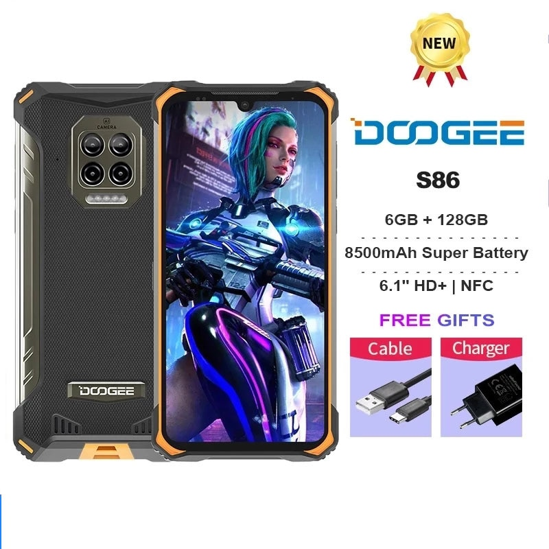 DOOGEE S86 IP68/IP69K Mobile Phone 6GB+128GB 8500mAh 6.1inch Super Battery Smartphone NFC Android10 Octa Core Cellphone