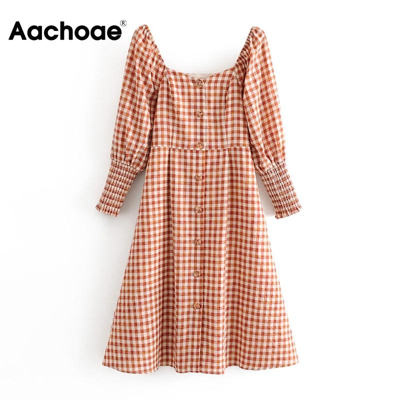 Aachoae feminino elegante vestido xadrez puff manga na altura do joelho vestidos senhora único breasted gola quadrada midi vestidos mujer
