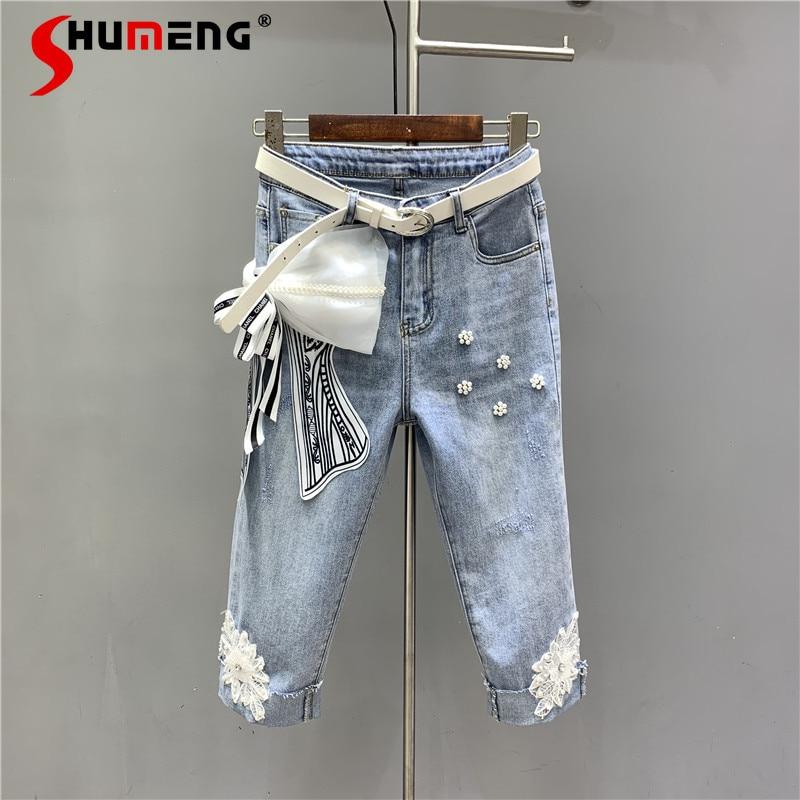 سروال جينز نسائي قصير بأشكال زهور ثلاثية الأبعاد مطرز بتصميم جديد لربيع وصيف 2021 سروال جينز نسائي على شكل ساق مستقيمة