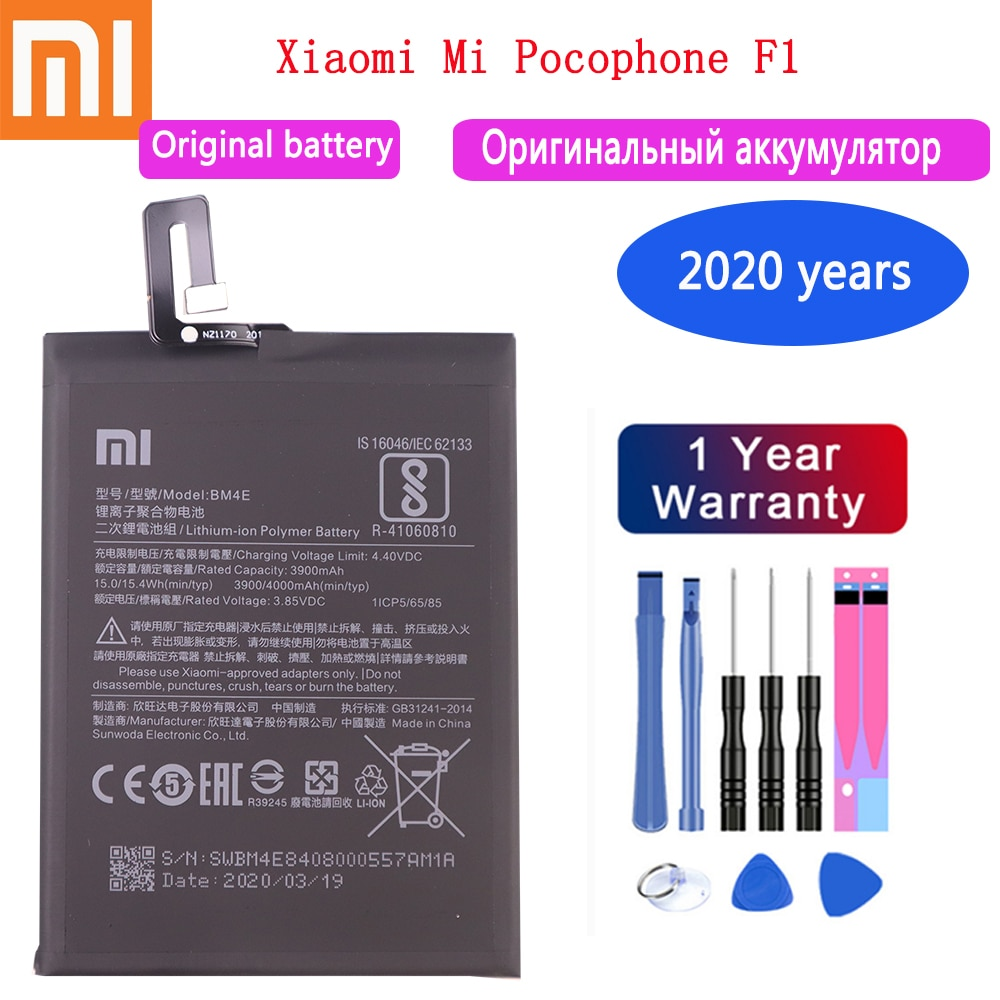 2020 years 100% Original Replacement Battery BM4E For Xiaomi MI Pocophone F1 battery Authentic Phone Battery 4000mAh Free Tools недорого