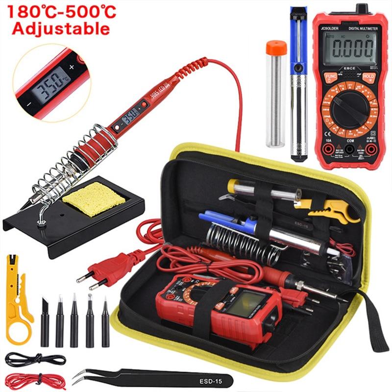Jcd ferro de solda kit com multímetro digital 6000 contagens ac/dc medidor tensão flash luz ferro de solda 80w 220v ferramenta de solda