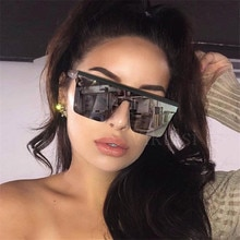 Oversized Square Sunglasses Women Brand Fashion Flat Top Male Black Clear Lens One Piece Men Gafas S