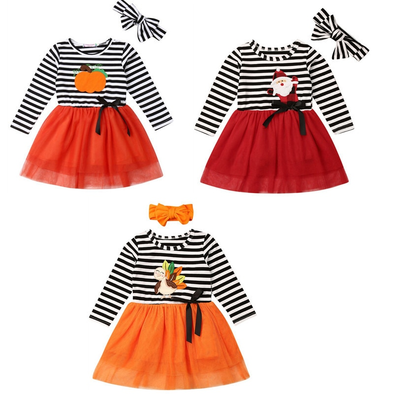 Invierno niños niñas vestido Halloween calabaza vestidos para niñas manga larga rayas tul fiesta boda princesa niños disfraces