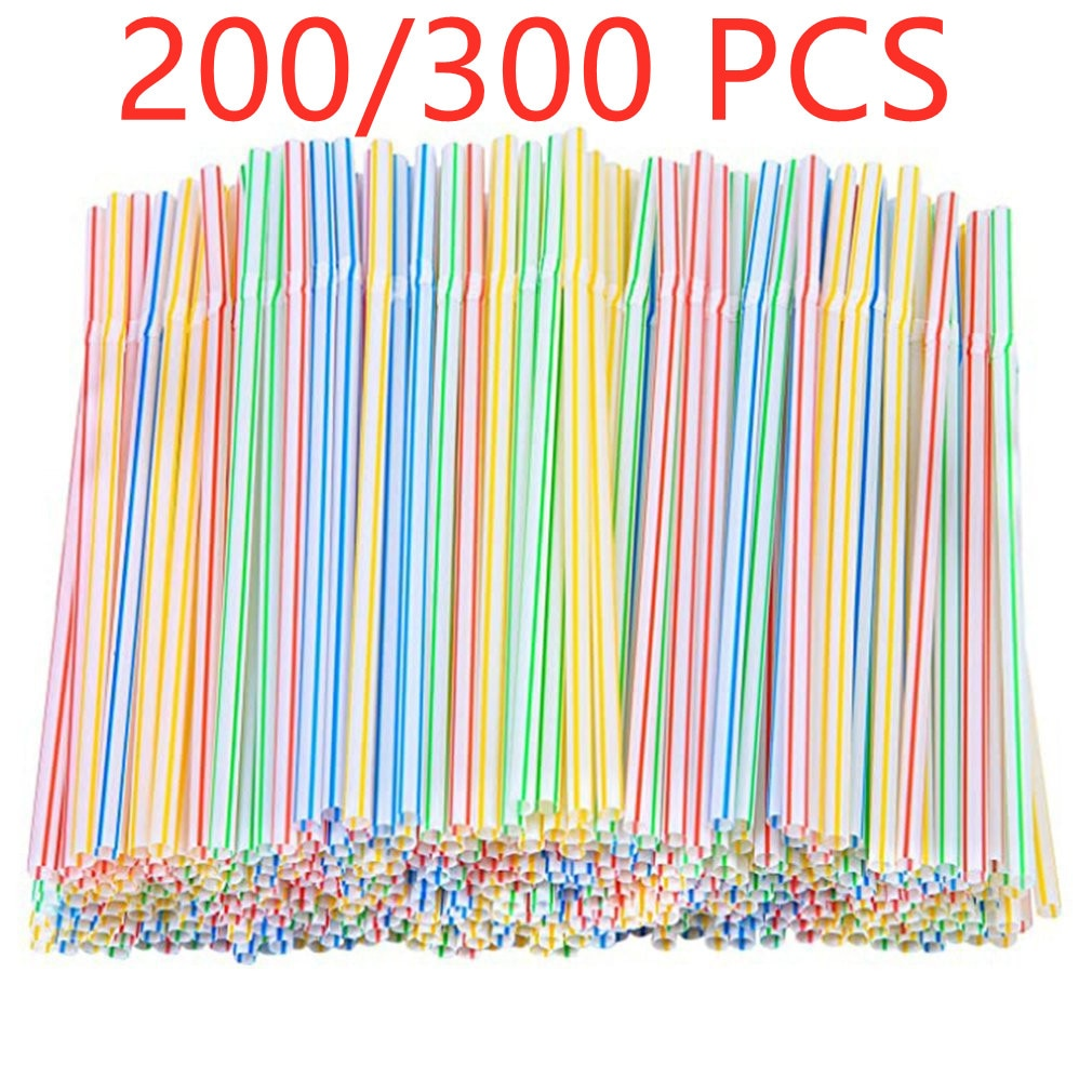 200/300 Pcs 21cm Colorful Disposable Plastic Curved Drinking Straws Wedding Birthday Party Home Kitchen Bar Drink Accessories