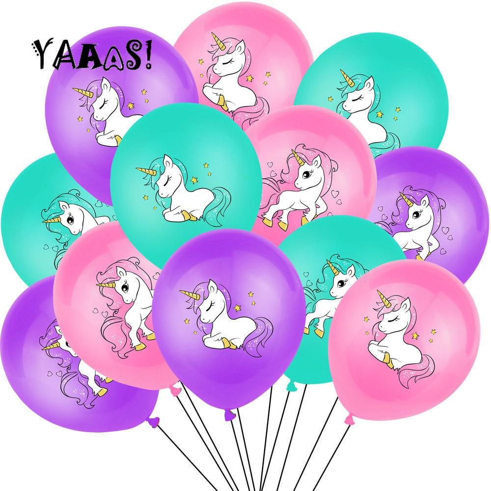 1 Set Unicorn Party Balloons Birthday Baloon Decoration Latex Balloon Kids