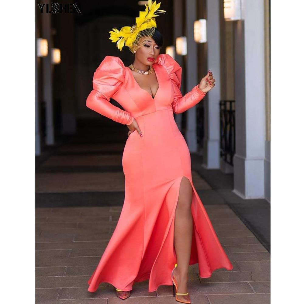 أسود Bodycon فستان طويل الأكمام ماكسي فساتين الأفريقية للنساء 2021 الخريف الملابس Dashiki عالية انقسام ثوب الأفريقية فام