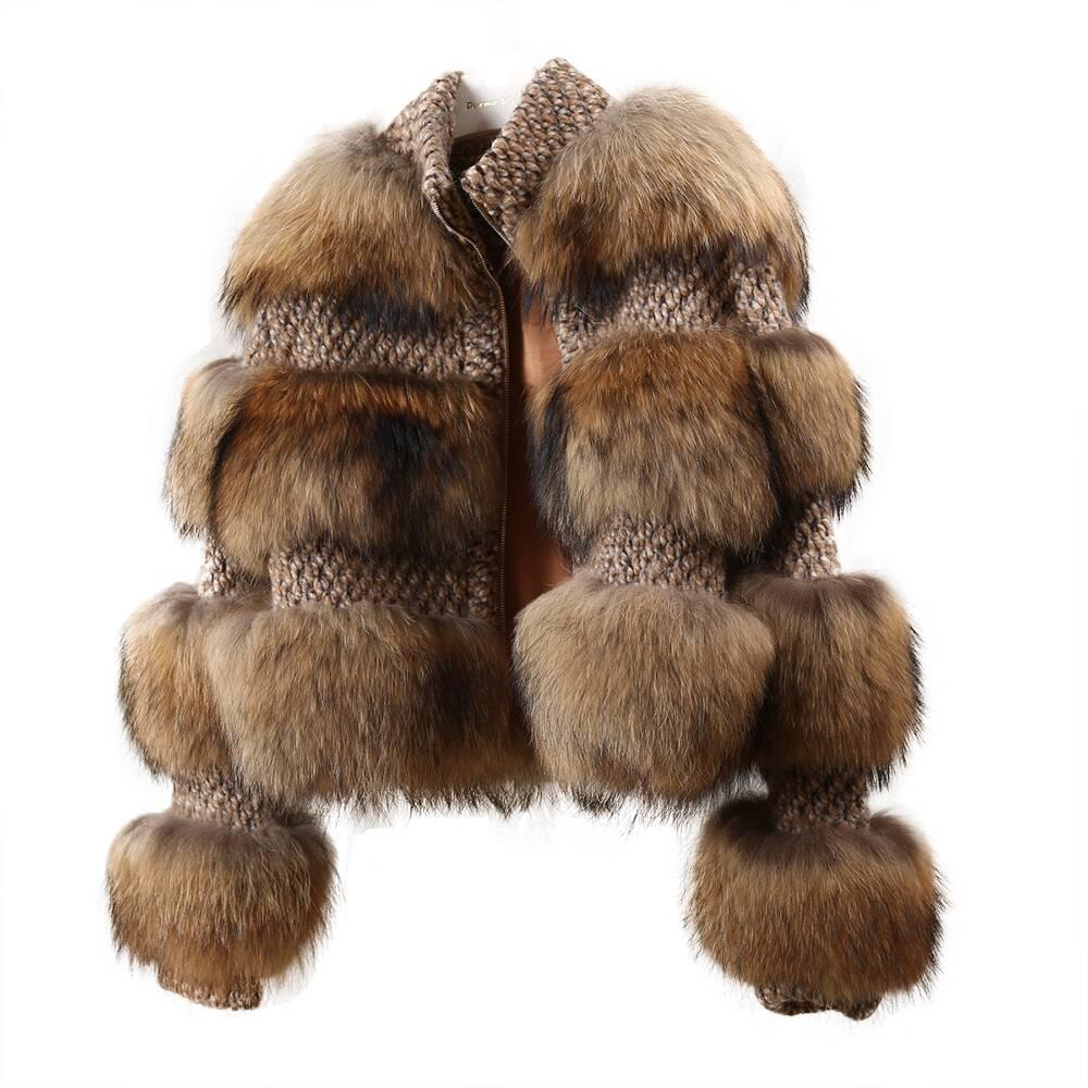 فروي الشتاء سترة النساء 2020 العصرية اضافية رقيق طويل الأكمام الطبيعي الراكون الفراء معطف الأزياء الراكون الحقيقي الفراء سترة السيدات