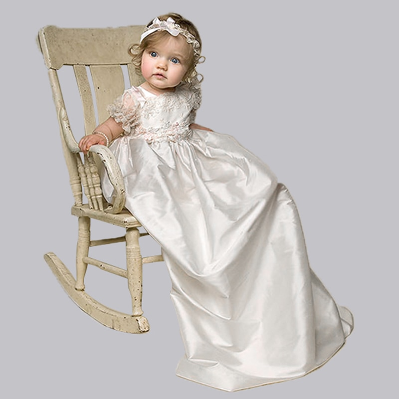 Nimble Satin/Lace Newborn Clothes Baby Christening Gowns White Baby Girl Clothes First Communion Clothes for Girls Trolls 2021