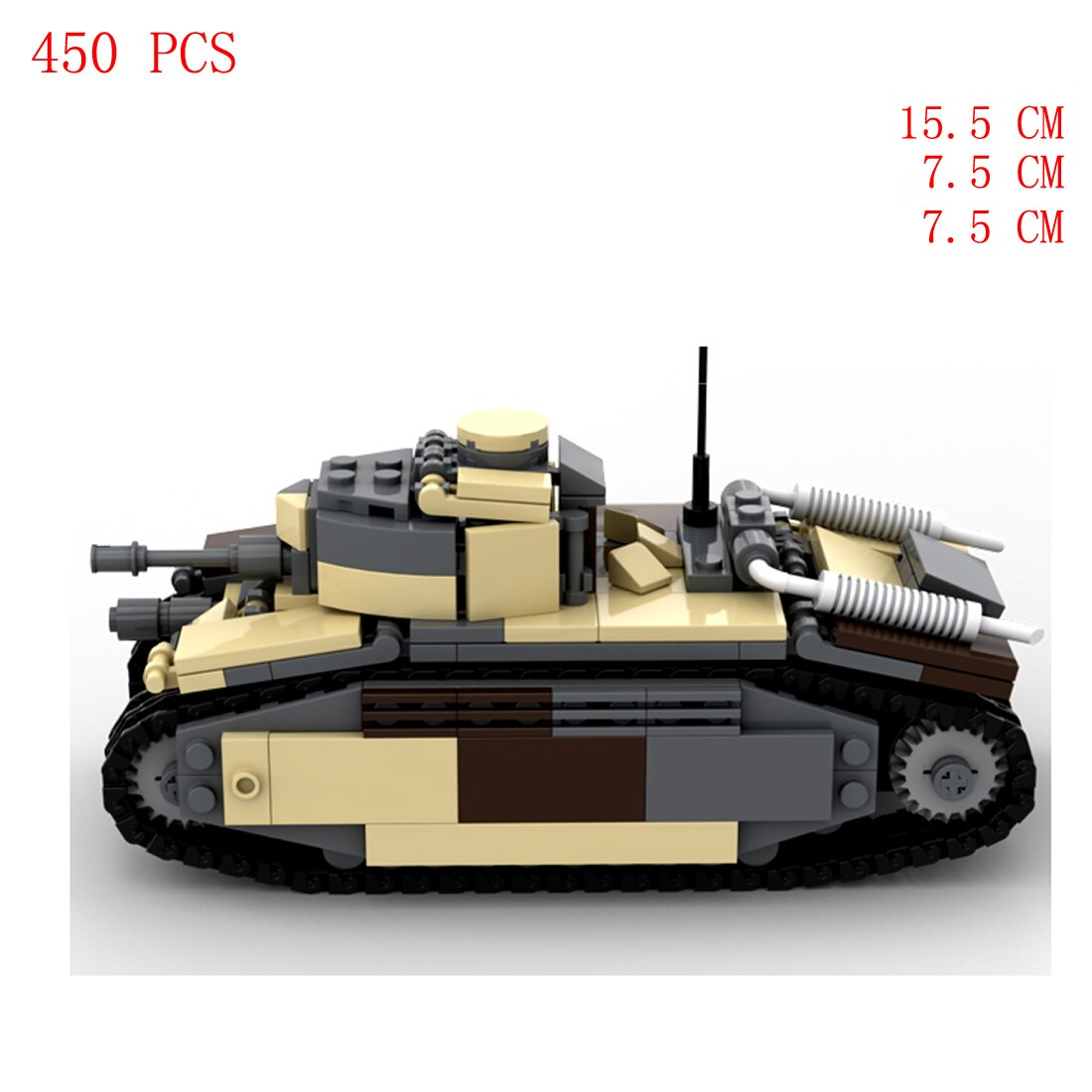 Купить с кэшбэком hot military WWII French Army technics vehicles char b1 heavy tank equipment weapons Building Blocks model bricks toys for gift