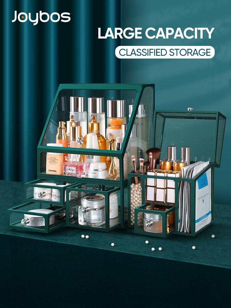 JOYBOS صندوق تخزين سعة كبيرة منضدة خلع الملابس درج زجاجي مستحضرات التجميل منتجات العناية بالبشرة الغبار واقية تخزين الرف مع غطاء JX22