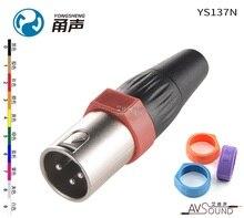 Véritable YONGSHENG (NEUTRIK) YS137N canon XLR trois cœurs équilibré canon mâle prise avec anneau de couleur