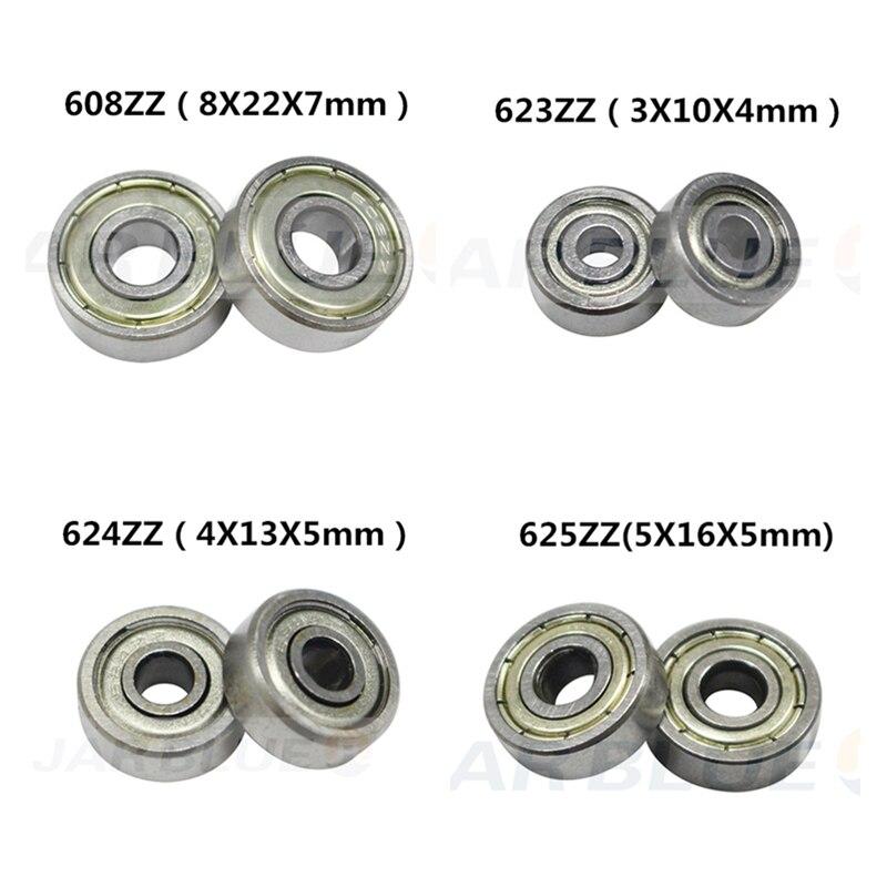 Frete grátis 10 pçs rolamento de esferas 608zz 623zz 624zz 625zz 635zz 626zz 688zz impressoras 3d peças profundo sulco flangeado roda polia