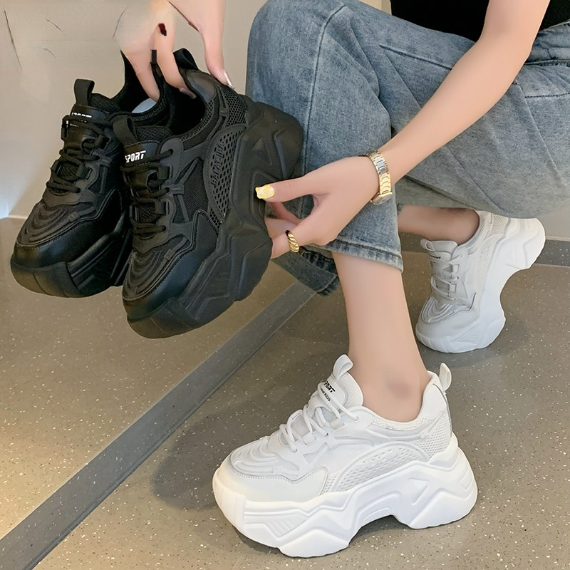 Women Platform Sneakers Leather Casual Ladies Chunky Shoes 2021White Woman High Black Fashion Brand