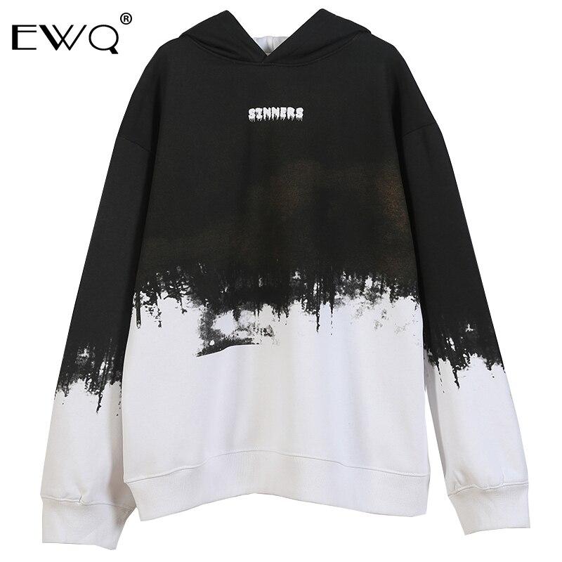 EWQ/pecador sanción impresión tinta Tie Dye Color bloque Patchwork polar sudaderas con capucha sudaderas Streetwear Hip Hop camisetas 9Y364