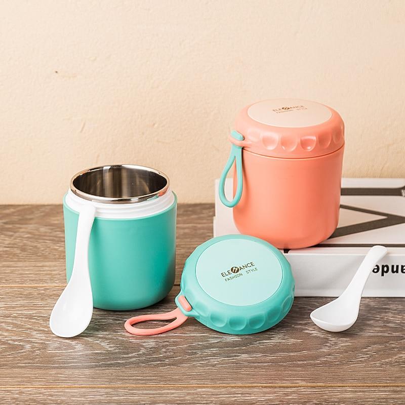 Mini fiambrera térmica con cuchara de acero inoxidable, taza al vacío para sopa, caja de almuerzo aislante