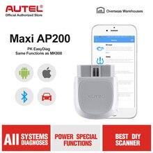 Автомобильный сканер autel AP200, Bluetooth, OBD2, диагностический инструмент для автомобиля, считыватель кодов, Автосканер для IOS, Android, PK, Maxicom MK808