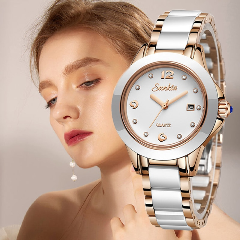 Rose Gold Ladies Bracelet Watches Reloj Mujer 2020New Creative Waterproof Quartz Watches For Women SUNKTA Fashion Women Watches enlarge