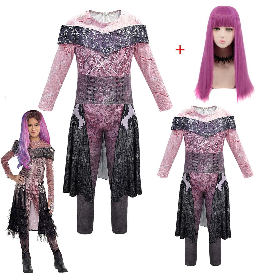 Disfraz de Halloween para niños mujeres descendentes 3 Mal Berta maléfica Audrey Cosplay disfraz carnaval ropa monos para niña