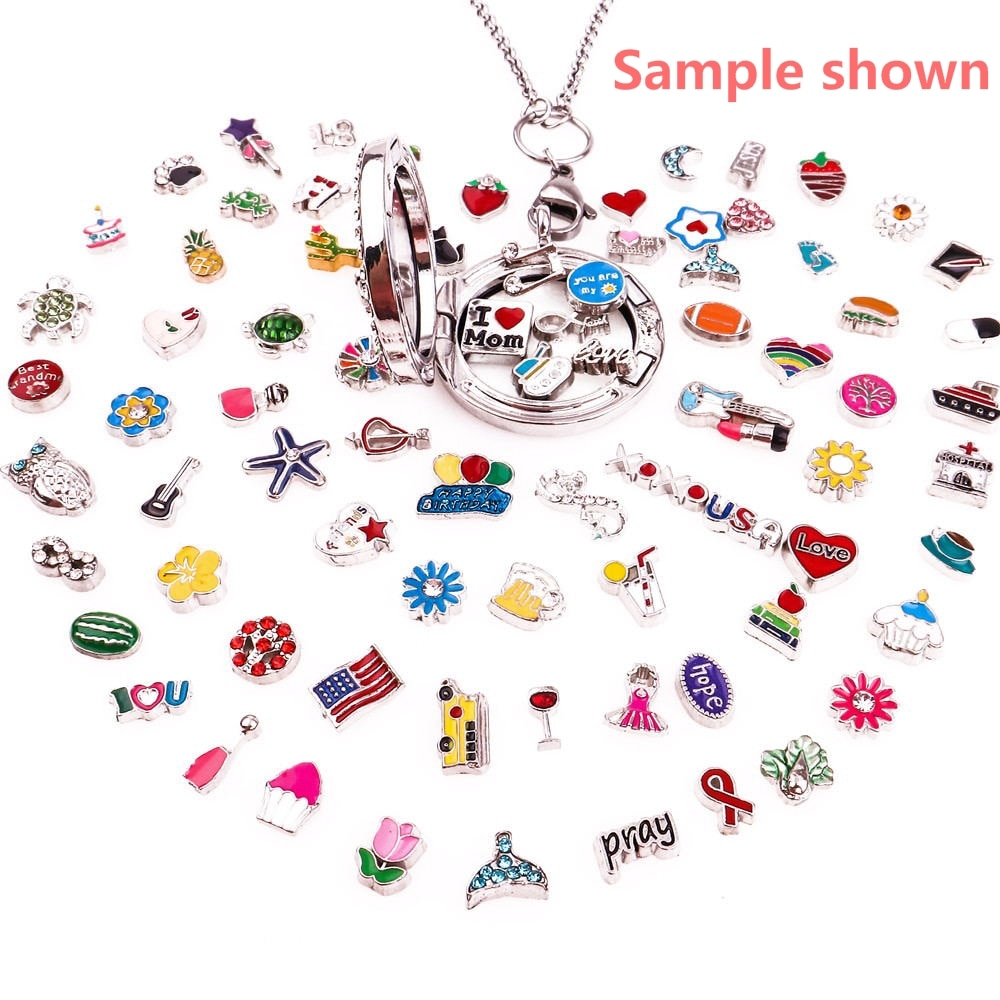 20 Mixed random sales floating charms Suitable for Glass Living Memory floating charm lockets Jewelry Pendant Necklace  - buy with discount