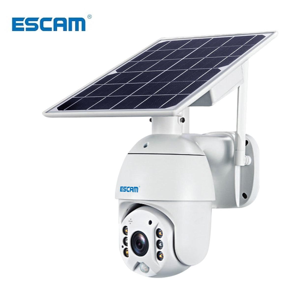 ESCAM-كاميرا مراقبة خارجية تعمل بالطاقة الشمسية Wifi QF280 1080p ، جهاز أمان لاسلكي ، منزل ذكي ، مقاوم للماء ، مع صوت ثنائي الاتجاه