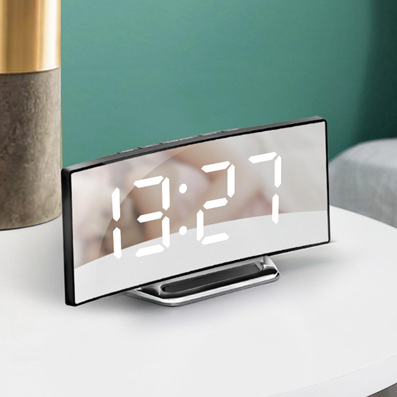 Digital Alarm Clock  Mirror Curved Dimmable Led Electronic Desktop For Kids Bedroom Living Room Home Decor