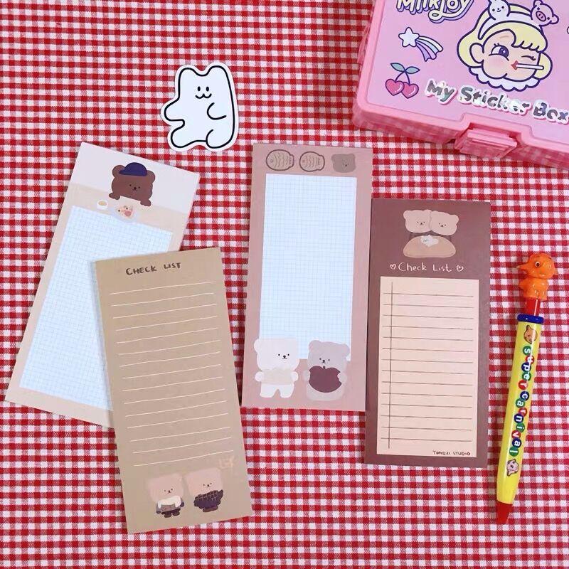 50 hojas oso Kawaii diario para hacer lista Memo planificador de notas lista de verificación Paperlaria Agenda escuela Oficina papelería