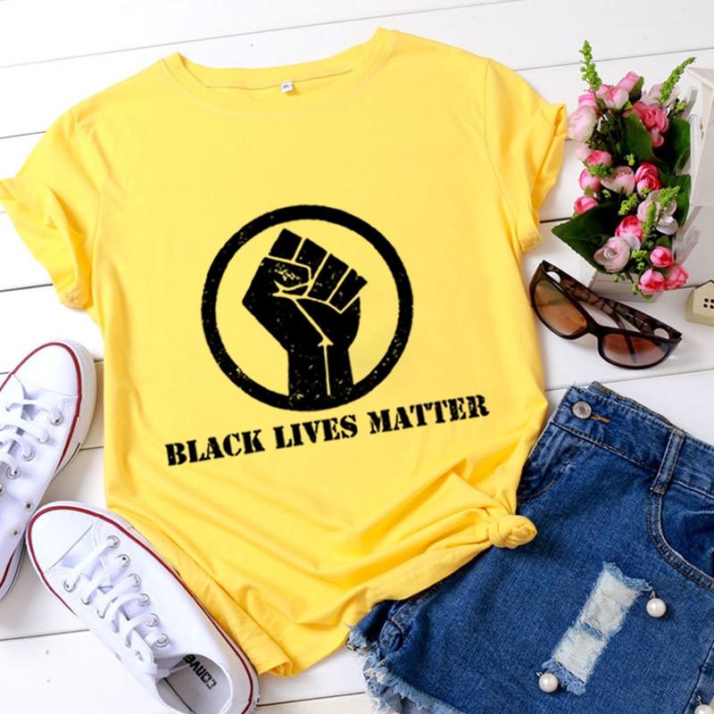 ¡Novedad de 2020! Camiseta estampada con patrón de BLACK LIVES MATTER, camisetas de manga corta con cuello para mujer para verano, camiseta Casual de moda Harajuku Cozy, camiseta