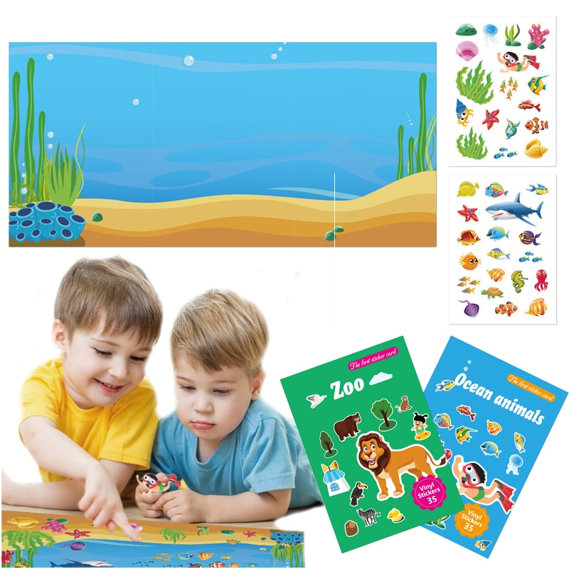 Chidren Stickers Book DIY Toys Puzzle Game Cartoon Zoo Sea Animals Creation Sticker Pad Learning Education Girl Boy Kids Gifts