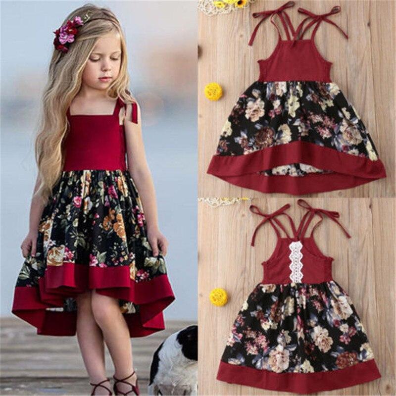 Детское платье, модная одежда для маленьких девочек, платье-пачка с цветочным принтом для вечеринки, сарафан, детское официальное платье пр... сарафан для девочек