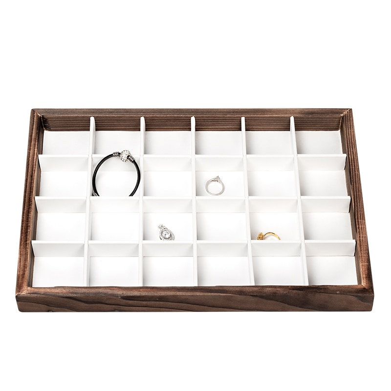 Top Sale Brown puls White wooden jewelry display tray  multi-specification customizable for Necklace ring bracelace
