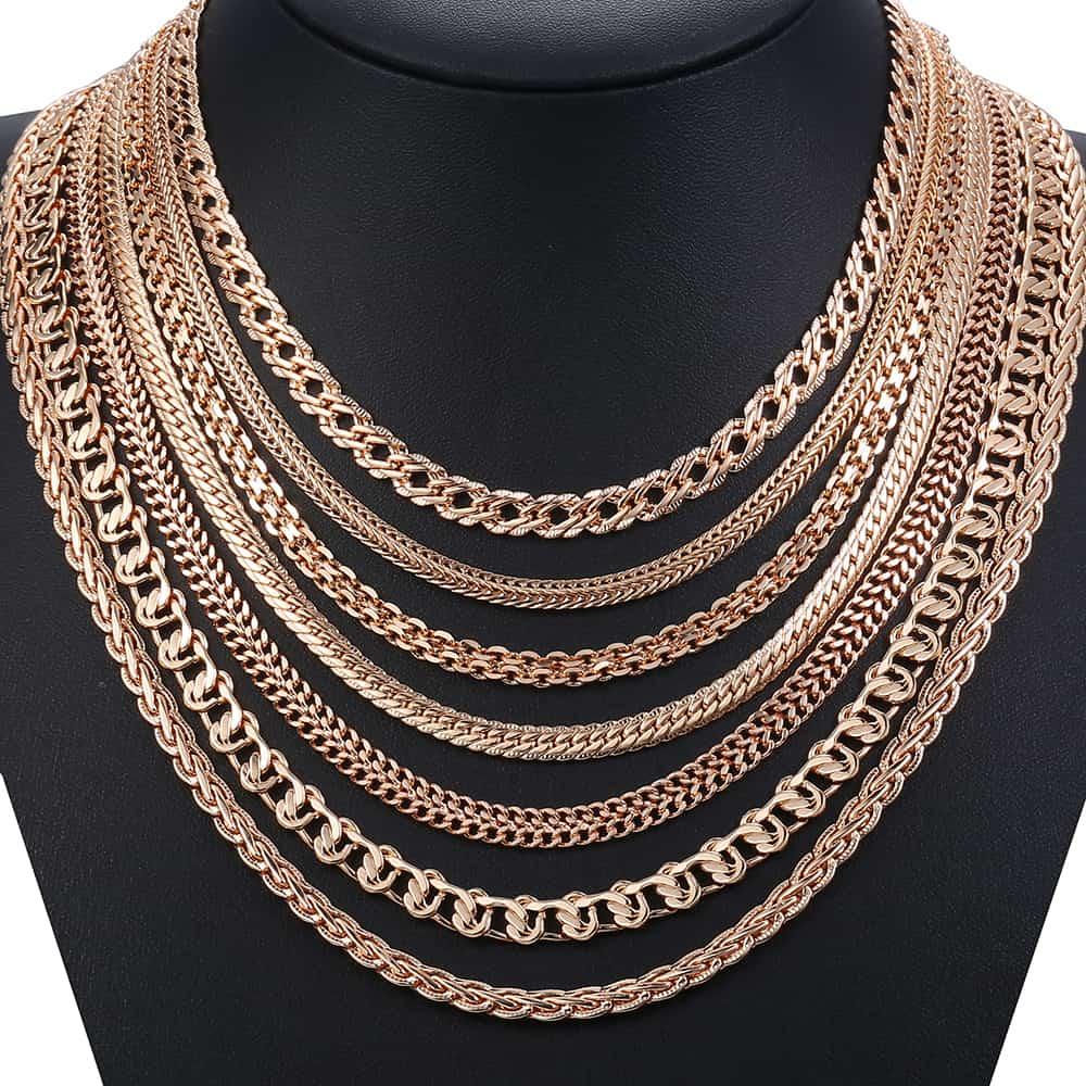 Kadın kolye moda takı tilki kuyruğu salyangoz dokuma dövülmüş bağlantı zinciri 585 gül altın renk kolye kadınlar için 50/60cm LCN01