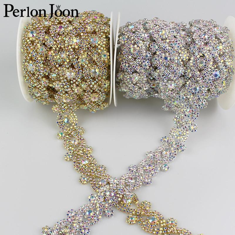 1yard X-shape AB color Symphony crystal rhinestones trim metal chain Ribbon for dress, bag, shoes accessories ML013