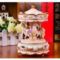 creative gift present princess love girl music box musical box resin carrousel hand move gift present wholesale