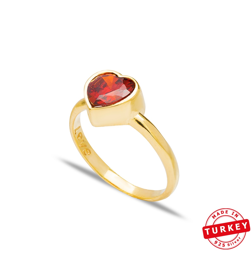 SEPENTA anillo de plata con forma de corazón de piedra hecho a mano 925 anillo de plata de ley anillo de piedra naranja y roja