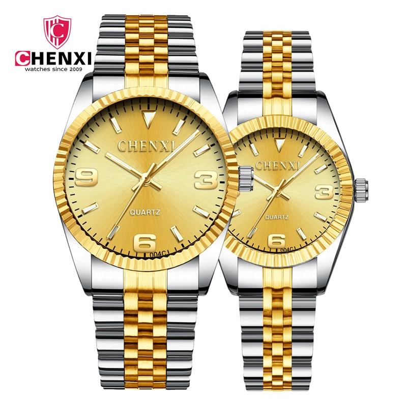 CHENXI 2021 Couple Watches For Lovers Luxury Stainless Steel Quartz Wristwatch Lover's Dress Clock Business Men & Women Reloj