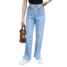2021 Spring Summer New Women Solid Fashion High Waist Loose Casual Soft Wide Leg Jeans Slim Pants Hi
