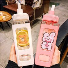 700/900ml  Sport Bicycle Water Bottle With Straw Sticker Kawaii Bear Plastic Travel Tea Juice Milk P
