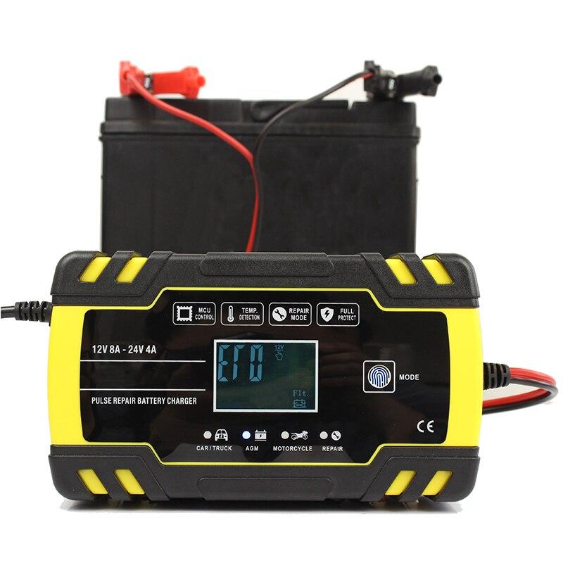 O pulso do carregador de bateria do carro que repara 12v 8a/24v 4a esperto carregamento rápido para o carregador de bateria acidificada ao chumbo molhado do gel de agm
