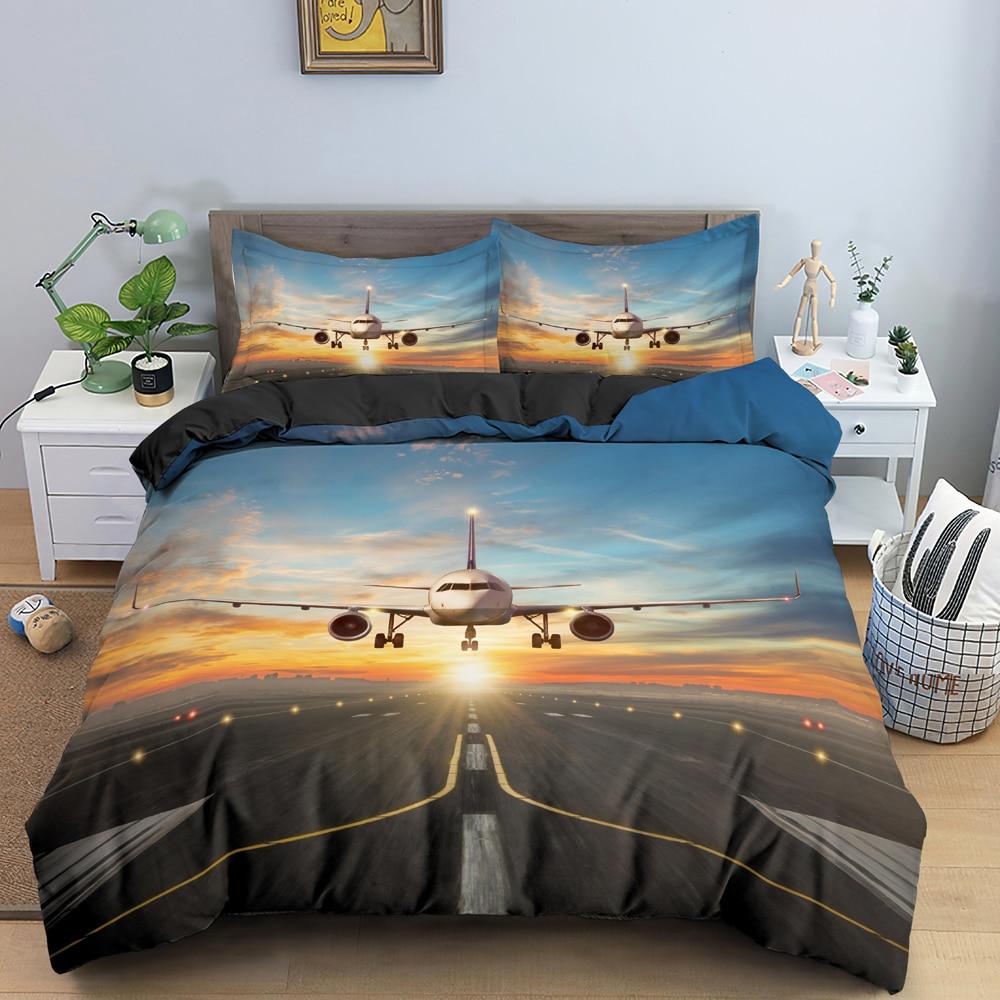 ثلاثية الأبعاد طائرة نمط طقم سرير فاخر لينة حاف مجموعة غطاء الملك الملكة حجم واحد المفارش ديكور غرفة نوم 2/3 قطعة غطاء لحاف