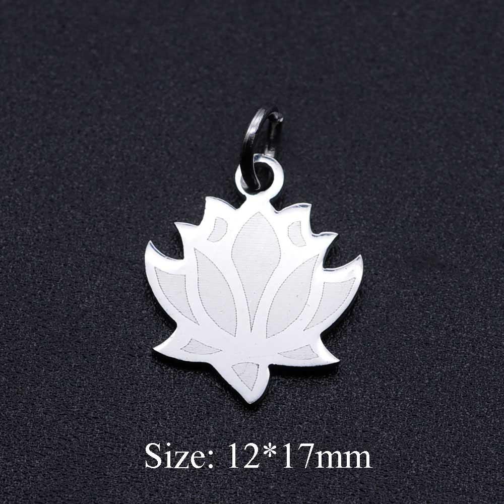 5 unids/lote delicado Lotus Boho 316L Acero inoxidable DIY colgante encantos al por mayor para la fabricación de joyas suministros