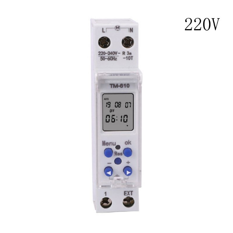TM610 220V/110V Timer Switch 18mm Single Module DIN Rail LCD Digital 7 Days 24 Hours Programmable Output Power 16A