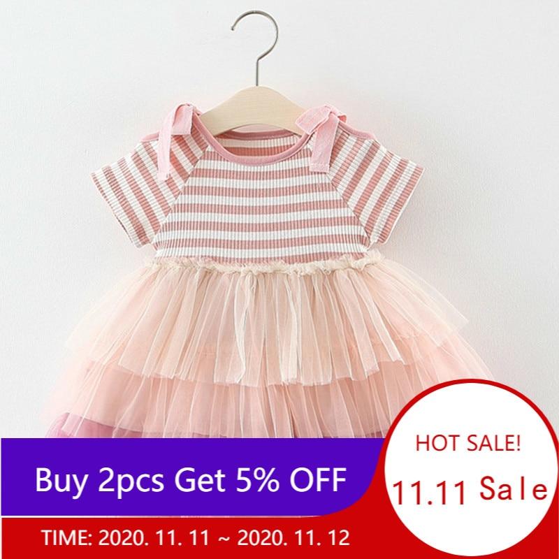 Girls Dress 2020 Summer Girl Birthday Dress Newborn Baby Cute Cupcake Striped Princess Dresses Girl Children Clothing