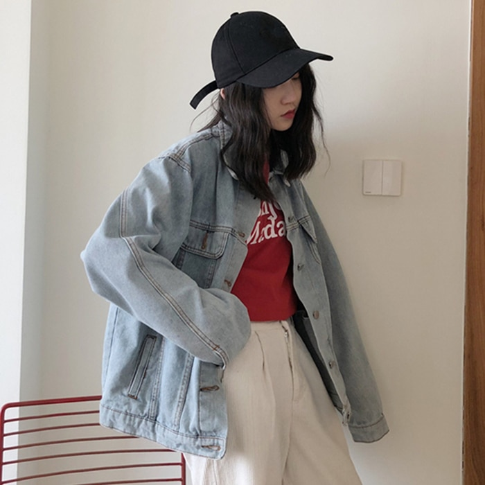 Internet Celebrity Social Women's 2021 New Hong Kong Autumn Vintage Denim Jacket Female BF Style Loo