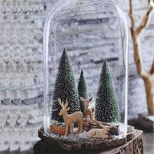 Mini arbre de noël de 15 pièces 4.5cm   Mini arbre de noël pour nouvel an, petit pin de bureau, Mini décor de noël blanc/or/bleu ciel