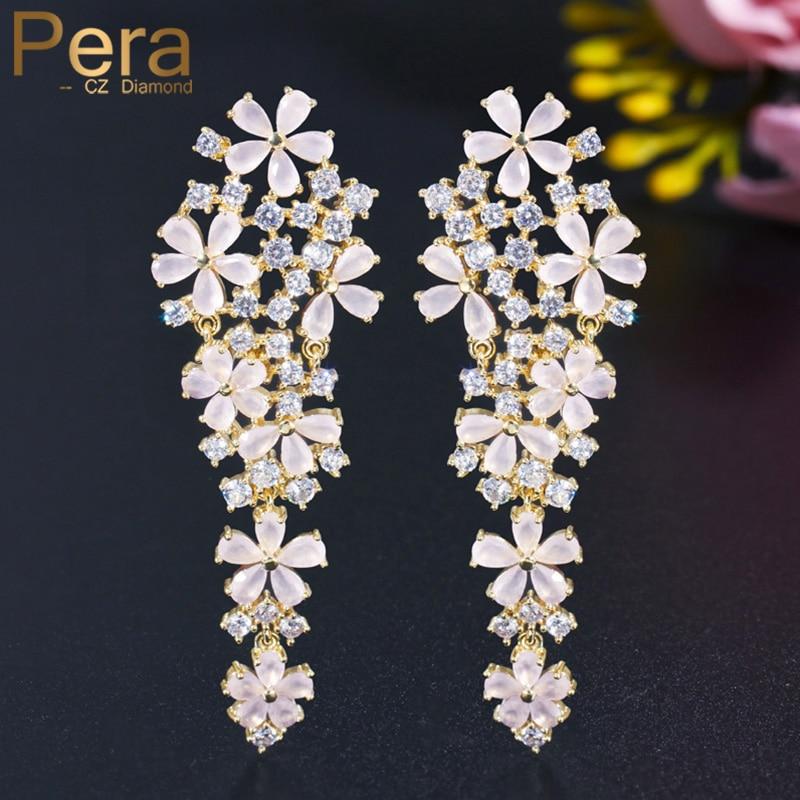 Pera brillante CZ cristal largo romántico gran colgante Rosa pendientes colgantes de flor para mujeres elegantes Derss accesorios de joyería ER501