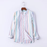 cotton linen shirt for mens refreshing striped long sleeve tops japanese vintage stripe blouse male clothing breathable casual