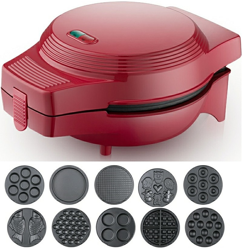 220V متعددة الوظائف الكهربائية الهراء آلة المنزلية كعكة دونات الأسماك الهراء آلة مع 10 لوحات