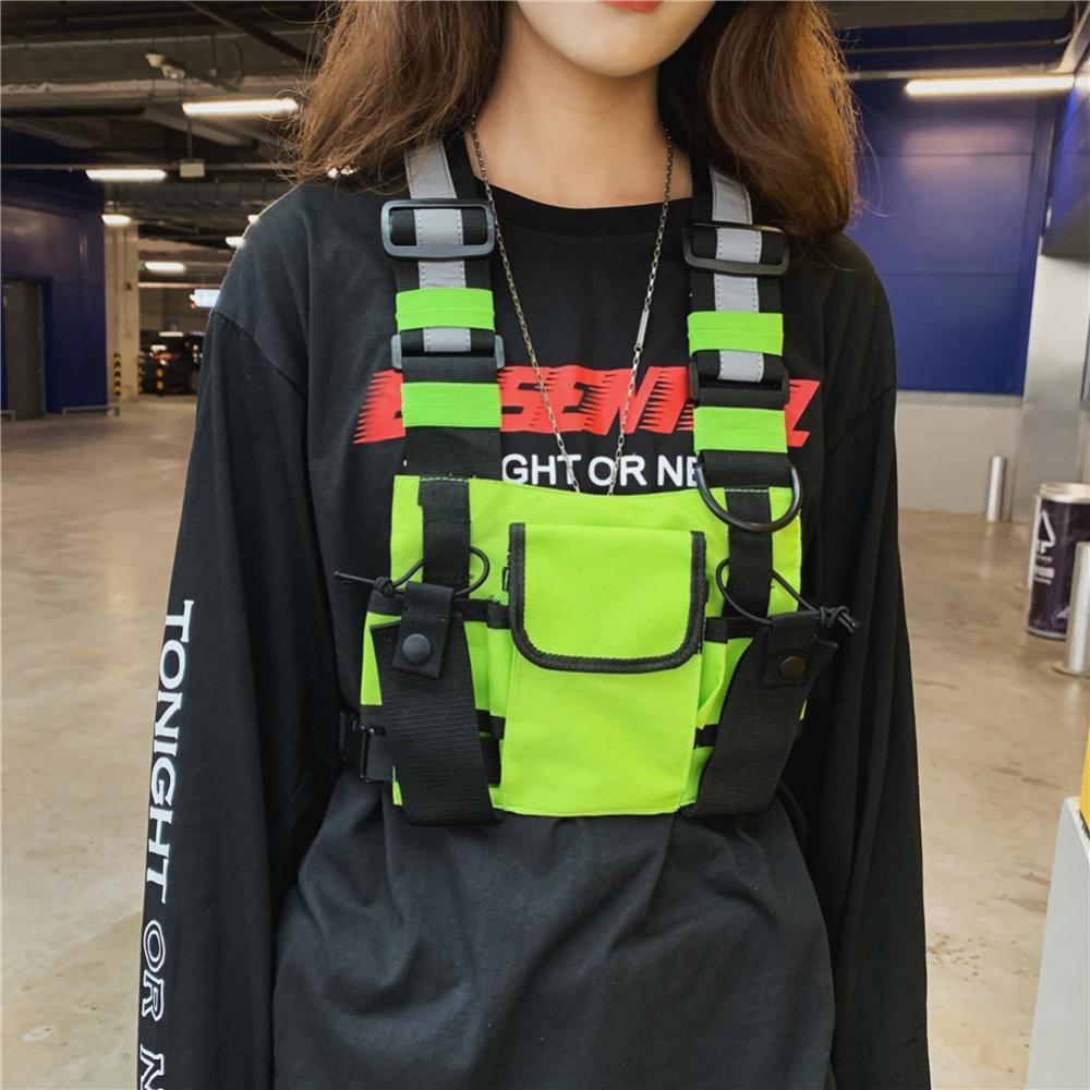 Moda feminina saco de equipamento de peito colete reflexivo hip hop streetwear funcional arnês pacote de saco de peito frente cintura bolsa mochila